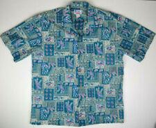 Vtg Hawaiian Shirt XL Miami Vice 80s Teal Hawaii Kurt Cobain Aloha Grunge
