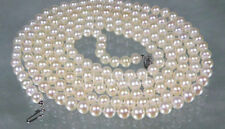 "Genuine AAA+ 5.5-6mm round white akoya pearl necklace 18 "" 14k gold clasp"