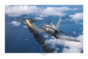 """WWII WW2 USN Vought Corsair F4U Kepford Aviation Art Photo Print - 12"""" X 18"""""""