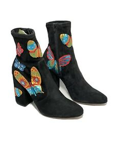 VALENTINO Black Butterfly Embroidered Booties Heels Size 40 US 10