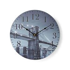 NEDIS Circular Wall Clock 30cm Diameter Brooklyn Bridge Image CLWA007WD30BB