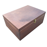 Wooden Box A4 Size 13.5 cm Height Whit Lid Lockable in Brown Color
