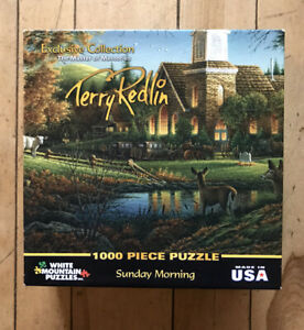 """""""SUNDAY MORNING"""" by TERRY REDLIN 1000 Large Piece Puzzle White Mountain Co"""