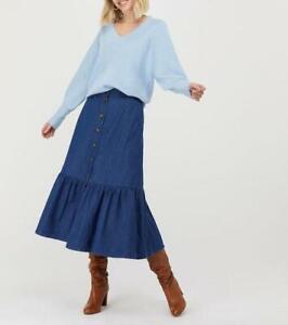 Monsoon-Tori Tiered Denim Midi Skirt In Organic Cotton-Blue- Size M ( BNWT)