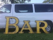 Large 1950's Yellow & Black Porcelain Bar Sign Beer Whiskey Liquor