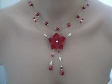 Collier original Ivoire/Rouge Bordeaux  p robe d Mariée/Mariage fleur pas cher