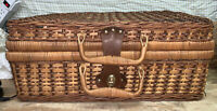 Vtg Suitcase Style Picnic Decorative basket Woven Wicker Rattan + Accessories