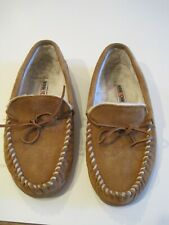 Minnetonka Men's Size 11 Suede Leather Sherpa Lined Hard Sole Moccasin #4136