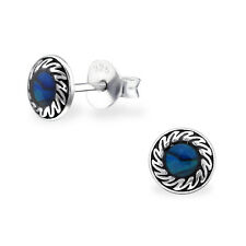 Sterling Silver Abalone Blue Shell Patterned Round Stud Earrings