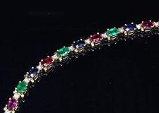 Emerald Sapphire Ruby & Diamond 8.50 T.C.W. Bracelet 14ky