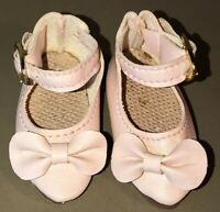 Vintage Soft Pink Bow & Buckled Leatherette Doll Shoes
