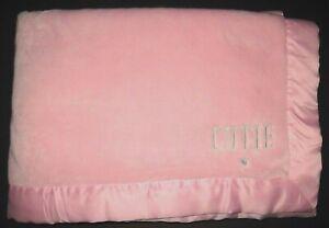 "Carters Pink CUTIE Gray Heart Blanket Satin Trim Baby Girl 30x40"""