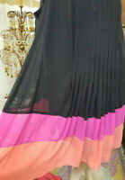 Apt 9 Dress 2x Flowing Sleeveless Optional Belt Black w/Pink and Orange Skirt