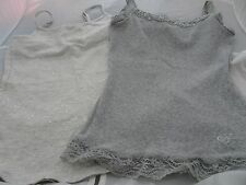 JUSTICE GIRLS SIZE 6/7 & 8 GRAY TANK TOPS-LOT OF 2-LACE TRIM-BLING