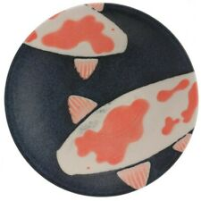 "Japanese Snack Dessert Dish Plate 5.5""D Ceramic Nishiki Lucky Koi Made in Japan"