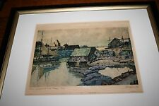 """Nicholas Hornyansky Etching Aquatint """"Grey Stragglers Over Peggy's Cove Signed"""