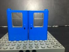 LEGO NEW Left & Right BLUE Train Doors with Glass Panel #4181/4182