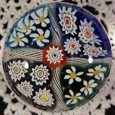 Vintage Murano Art Glass Millefiori Paperweight with Sparking Lutz Goldstone #1