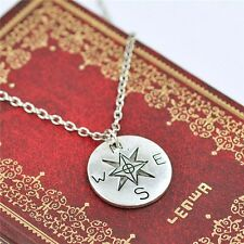 Box chain necklace not all who wander are lost Compass Necklace Find your true