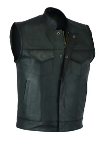 Mens SOA Anarchy Real Leather Waistcoat Motorcycle Biker Cut off Vest