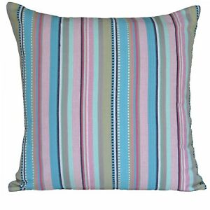 """Rainbow Big Cushion Covers Woven Stripes 60 cm 24"""" Muted Colourful Cotton Chic"""