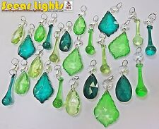 24 ANTIQUE GREEN PEACOCK CRYSTALS GLASS DROPLETS CHRISTMAS TREE BEAD DECORATIONS