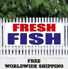 FRESH FISH Banner Vinyl Advertising Flag Sign Seafood Crabs Squid Restaurant