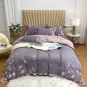 Luxury  Flower Embroidery 100S Egyptian Cotton Cover Bed Sheet Bed Bedding Set