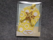 """NEW IN BOX Gifts By Fashion Craft Yellow Flip Flop Luggage Travel Tag 4"""" Tall"""