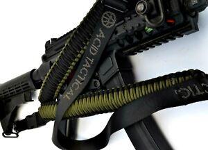 "Tactical 550 Paracord Rifle Gun Sling Single Point Airsoft - Green / Black 34"""