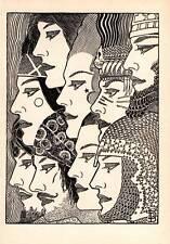 "1944 Original Don Blanding Art Deco Vintage Print ""A Thousand Lives II"""