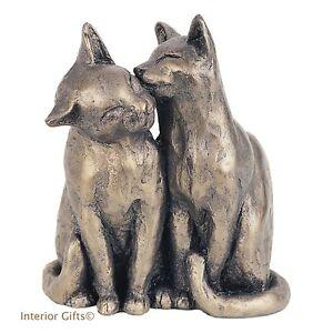 'YUM YUM & FRIEND' CAT SCULPTURE Frith Cold Cast Bronze PAUL JENKINS S052 gift