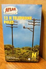 ATLAS MODEL RAILROAD N SCALE TELEPHONE POLES 12 pieces/per box