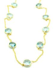 14K Topacio Azul Oro Amarillo Corte Elegante Collar Gema 16CM