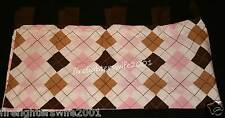 Trend Lab Pink Brown Tab Top Window Valance girls nursery argyle 53x15 nwop