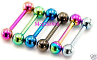 "6 Pc 14G 1/2"" 5 mm Ball Shorter Length Titanium Tongue Ring Tragus Barbells"