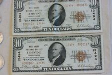 1929 LEMOYNE PA $10.00 T2  CH # 13494  2 notes in this lot