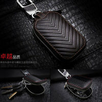 Brown Genuine Leather Key Holder Men and Women Key Purse Key Case Car Universal