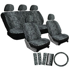 Car Seat Covers Grey 17pc Set for Auto Cheetah Leopard Animal Print Belt Pads