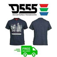 D555 Big King Size T Shirts For Mens Printed Smart Casual Blue Tee Tops 2XL-5XL