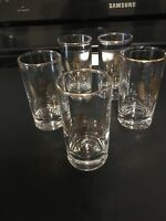 "Gold Trim Wheat Pattern Clear Glass 4"" T. Juice Glass.  Set Of 5"