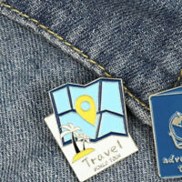 Map Shaped Gold Plated Travel World Tour- New Enamel Pin Badge! Holidays