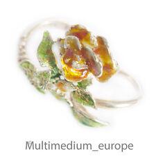 Ehinger und Schwarz 925 Silber Zweifinger Ring Emaille Blume silver enamel