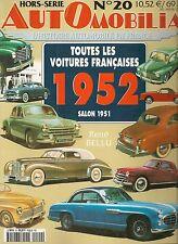 AUTOMOBILIA HS 20 TOUTES LES VOITURES FRANCAISES 1952 (SALON 1951)
