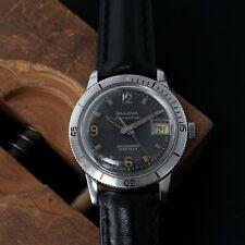 Bulova Automatic Waterproof 666ft SS Divers Men's Watch Original Lume Black Dial