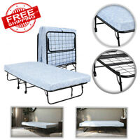Folding Rollaway Twin Guest Bed Frame with 5-Inch Memory Foam Mattress Camping