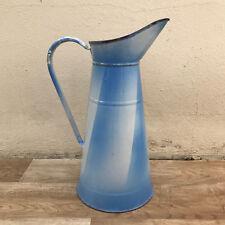 Vintage French Enamel pitcher jug water enameled white blue 3010179