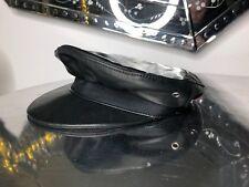 Original Dsquared Biker Leather cap ha cuero Cappy gorra sombrero negro NP 375,-