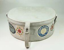 valise boite à chapeau ancienne cuir retourné daim vintage 60s suede hat box