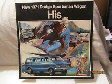 Vintage 1971 Dodge Sportsman Wagon His or Her Models Black Sales Brochure